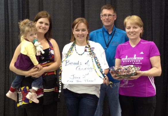 Tara and her daughter, myself, Peter from Roadrunners and Maryann at the Sask Marathon Expo